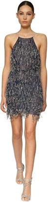 Azzaro Embellished Tulle Mini Dress W/ Fringe