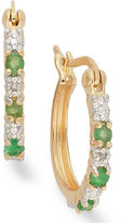 Townsend Victoria 18k Gold over Sterling Silver Earrings, Emerald (1/8 ct. t.w.) and Diamond Accent Hoop Earrings