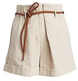 Brunello Cucinelli Women's Linen-Blend Leather Belted Shorts