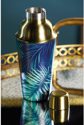 Bar Craft Brass Finish Stainless Steel Tropical Leaves Cocktail Shaker