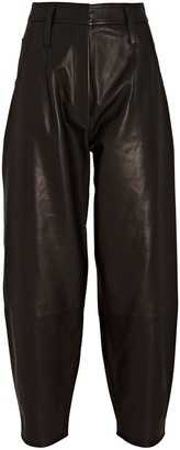 Frame Leather Barrel-Leg Pants
