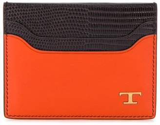 Tod's lizard skin-effect two-toned cardholder