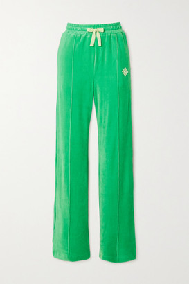Casablanca Appliqued Velour Track Pants - Green