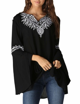 Angie Women's Embroidery Bell Sleeve Top
