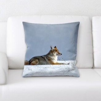 St Nicholas Millwood Pines Wolf Laying in The Snow Throw Pillow Millwood Pines