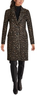 Jones New York Leopard-Print Reefer Coat