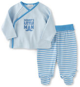 Absorba Two-Piece Mommys Little Man Top and Striped Footed Pants Set