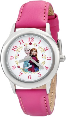 """Disney Kids' W001793 """"Frozen Elsa and Anna"""" Stainless Steel Watch with Pink Leather Band"""