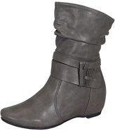 De Blossom Collection Amar-74 Women's Calf Flat Heel Side Zipper Slouch Ankle Boots with Glam Twist Grey