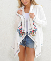 Paparazzi White & Pink Embroidered Hooded Open Cardigan