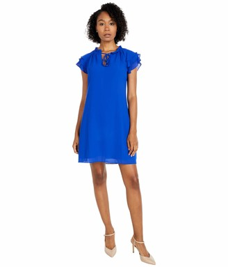 Vince Camuto Women's Chiffon TIE Front Float with Short Ruffle Sleeve
