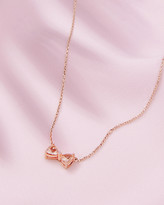 Ted Baker 9ct Rose Gold, Morganite And Diamond Bow Necklace
