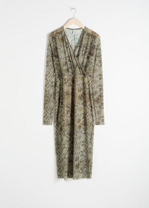 And other stories Snake Print Mesh Midi Dress