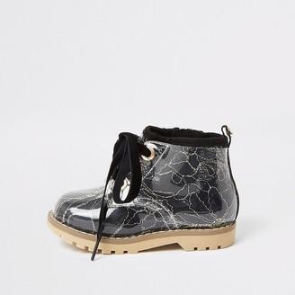 River Island Mini girls black lace hiker boot
