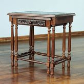 Novica Classic Duo (Set of 2) Nesting Tables Unique Decorator Accent Dark Brown Hand Tooled Leather and Cedar Wood Side Tables (Peru)