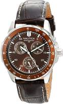 "Nautica Men's N09550G ""Windseeker"" Stainless Steel Watch with Brown Leather Band"
