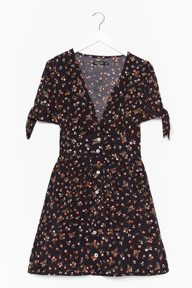 Nasty Gal Womens What's the Tea Floral Button-Down Dress - Black - 10