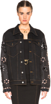 Alessandra Rich Denim Jacket with Embellished Sleeves