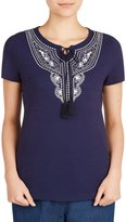 Allison Daley Petites Embroidered Notch Neck Short Sleeve Knit Top