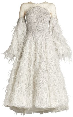 Mikael D Feather-Embellished Midi Dress