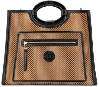 Fendi Logo Patch Perforated Tote Bag
