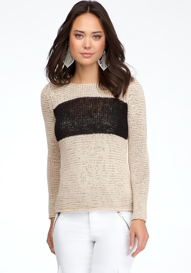 Bebe Colorblock High-Low Sweater