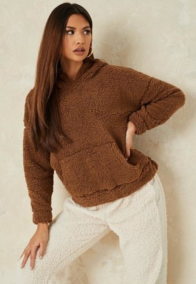 Missguided Camel Borg Teddy Pocket Fleece Hoodie