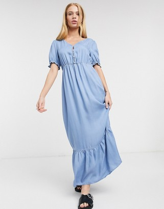 Only short sleeve button front maxi dress in blue