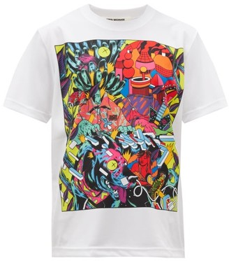 Junya Watanabe Cartoon-print Technical-mesh T-shirt - Womens - White Multi