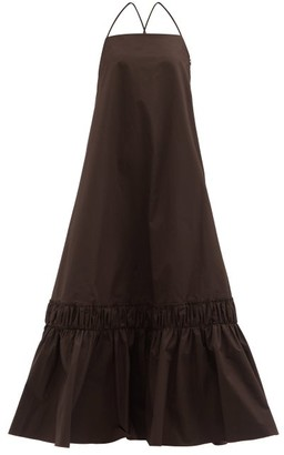 Jil Sander Gathered-hem Cotton Maxi Dress - Dark Brown