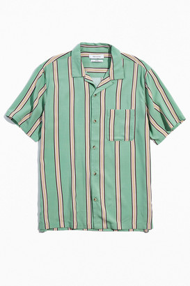 Urban Outfitters 50s Stripe Rayon Short Sleeve Button-Down Shirt