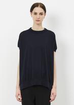 Marni ultramarine drawstring collar cap sleeve sweater