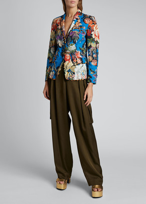 Dries Van Noten Floral Print Leopard Taped Blazer