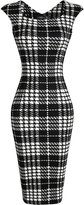 jeansian Women's Vintage Sleeveless Plaid & Polka Dots Bodycon Dress WKD277 WineRed M