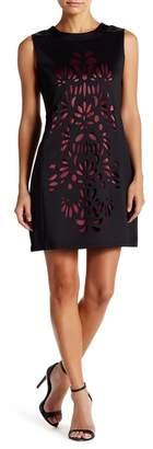 Papillon Faux Leather Accent Cutout Sheath Dress
