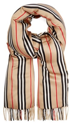 Burberry Vintage-check Cashmere And Silk-satin Scarf - Beige