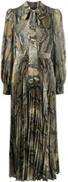 MSGM Tie-Neck Snakeskin-Print Pleated Dress