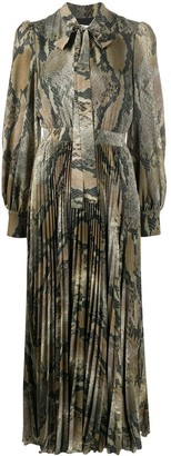 MSGM Tie-Neck Snakeskin-Print Pleated Dress