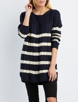 Charlotte Russe Striped Cable Knit Tunic Sweater