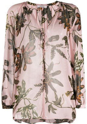Dorothee Schumacher Floral-Print Lace-Up Blouse