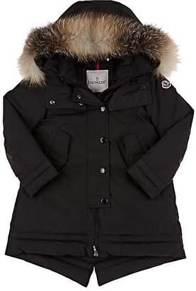 Moncler Kids' Fur-Trimmed Hooded Down Coat - Black