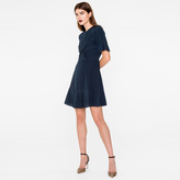 Paul Smith Women's Navy Silk Dress With Ruffle Front