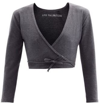 Live The Process Zen Stretch-jersey Wrap Top - Grey