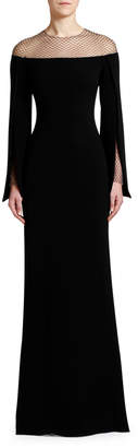 Stella McCartney Crystal Mesh Cape-Sleeve Cady Gown