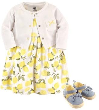 Hudson Baby Newborn Baby Girls' Cardigan, Dress & Shoes 3pc Set