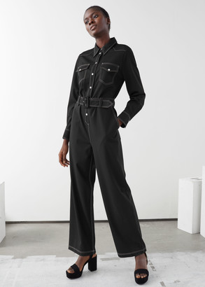 And other stories Topstitched Belted Jumpsuit