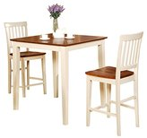 Best seller 3 Piece Solid Wood Counter Height Dinning Set for Small Space or restaurant Convenient Dining Set, 100% solid wood Buttermilk / Cherry Table and Chair set.