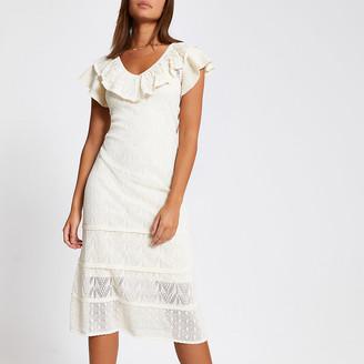 River Island Cream frill pretty stitch knitted dress