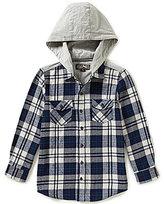 First Wave Big Boys 8-20 Plaid Hooded Woven Shirt