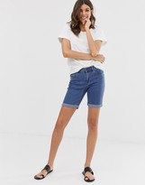 Vero Moda long denim shorts in blue